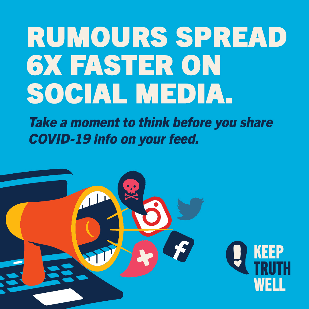 Rumours spread 6x faster on social media. Take a moment to think before you share COVID-19 info in your feed.